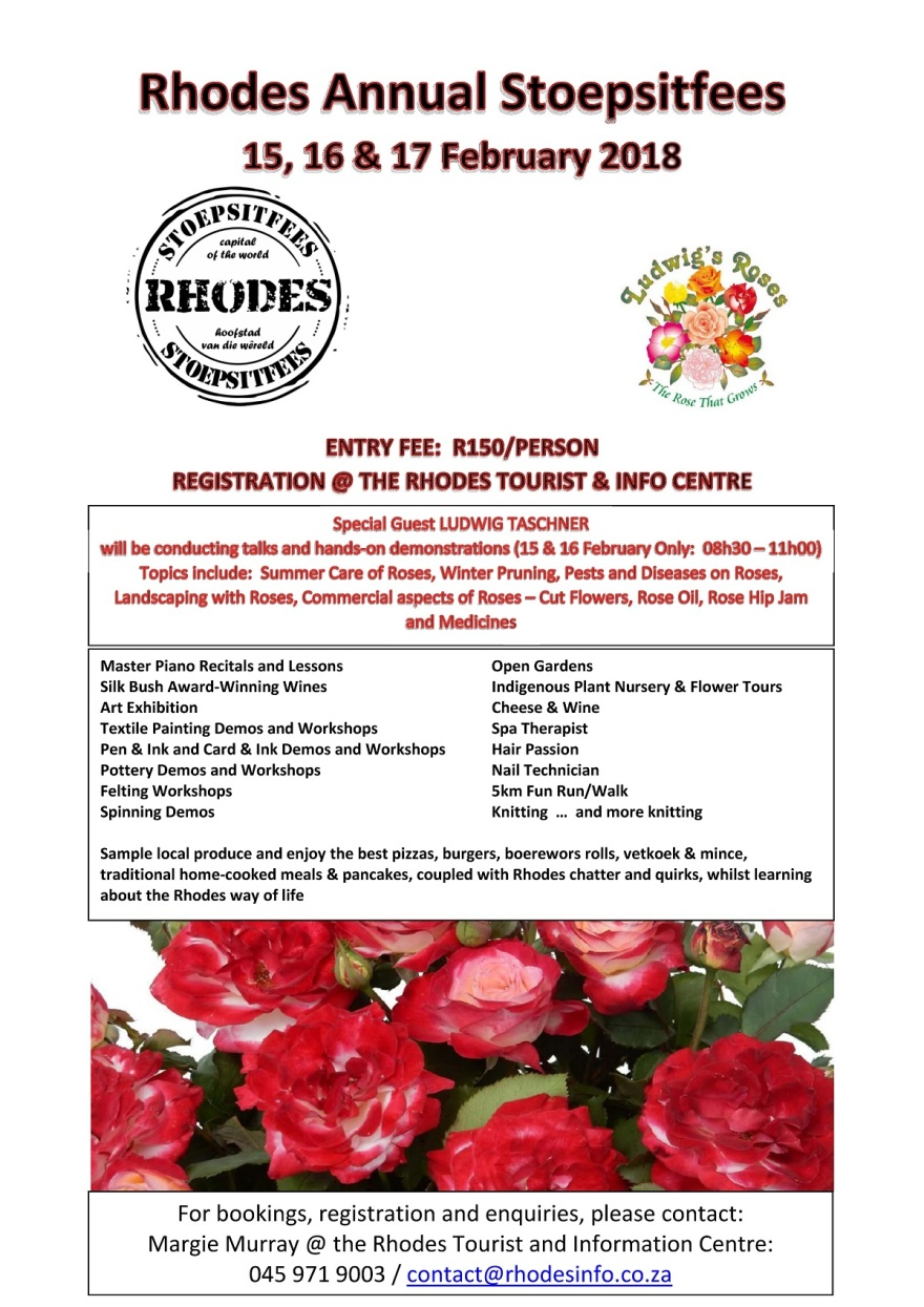 Rhodes Annual Stoepsitfees 2018 Flyer Email